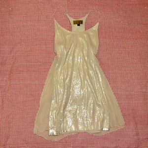 Nicole Miller Dress Sequin Cocktail Gold Size 4